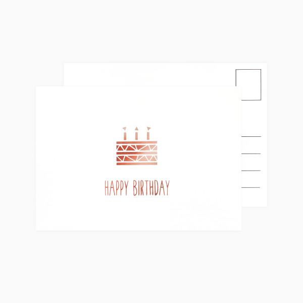 Postkarte Happy Birthday Torte