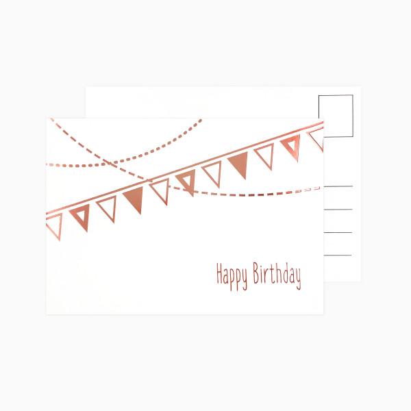 Postkarte Happy Birthday Girlande