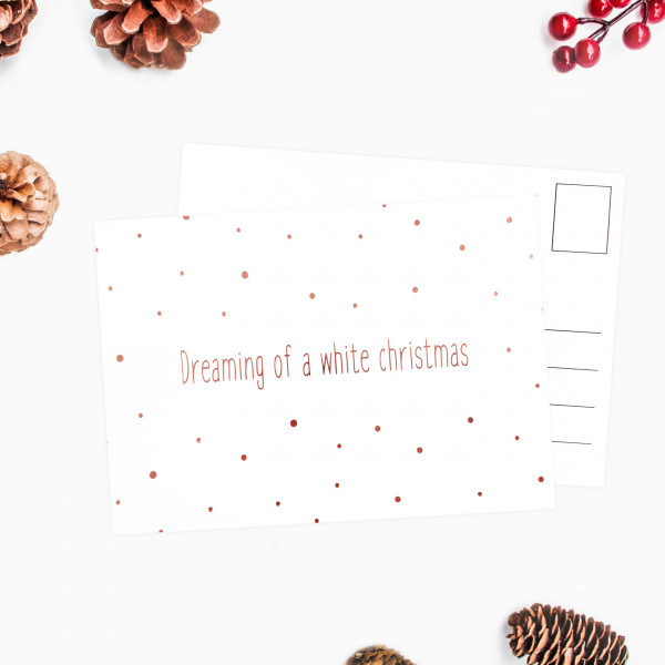 Postkarte dreaming of a white christmas